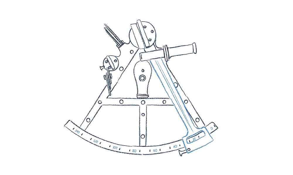 An illustration of a sextant