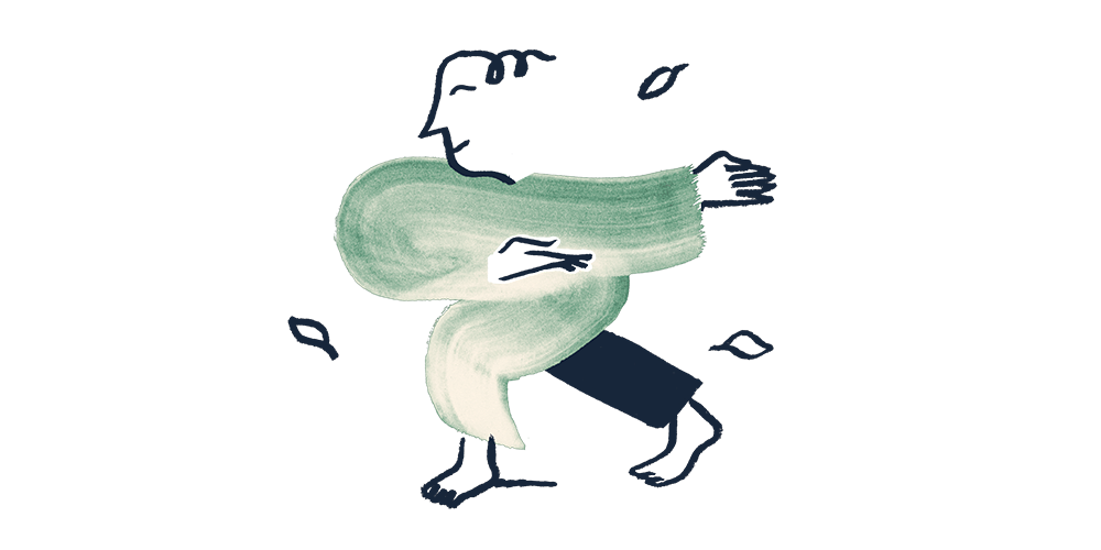 An illustration of a man doing tai chi