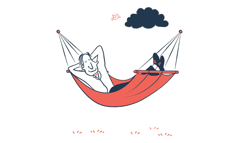 An illustration of a man relaxing in a hammock