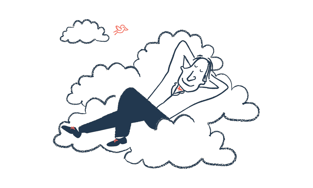 An illustration of a man relaxing on clouds