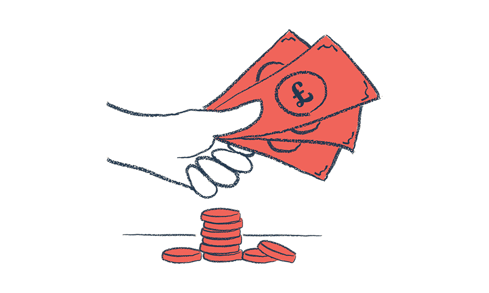 An illustration of a hand with some money