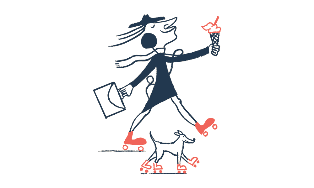 An illustration of a man on roller skates with an ice cream