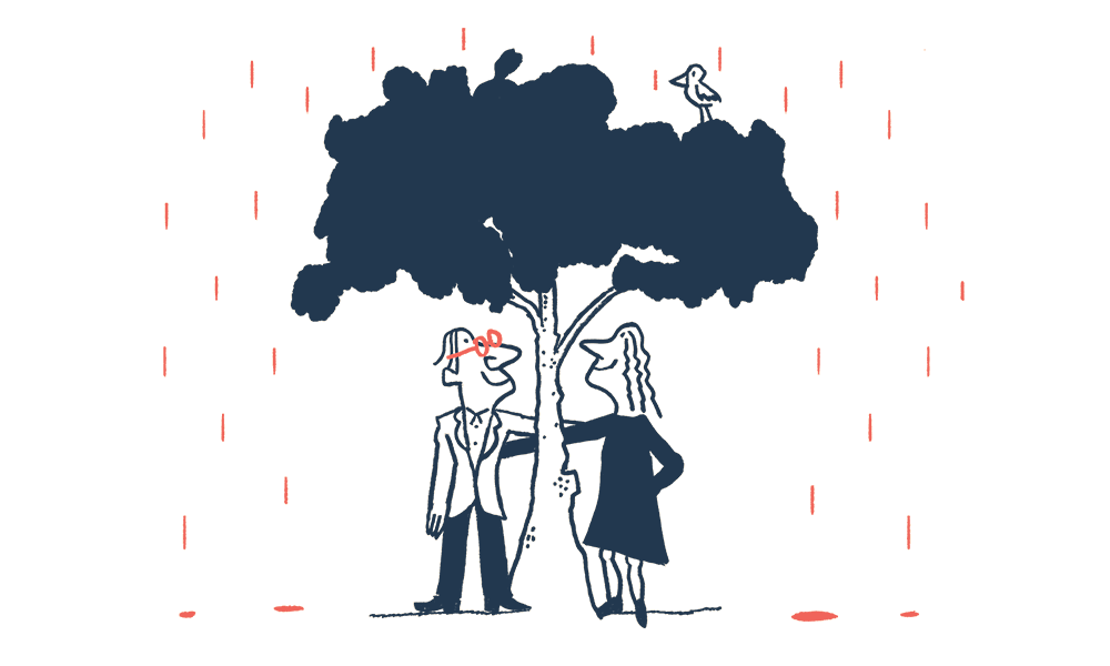 An illustration of a couple standing under a tree in the rain