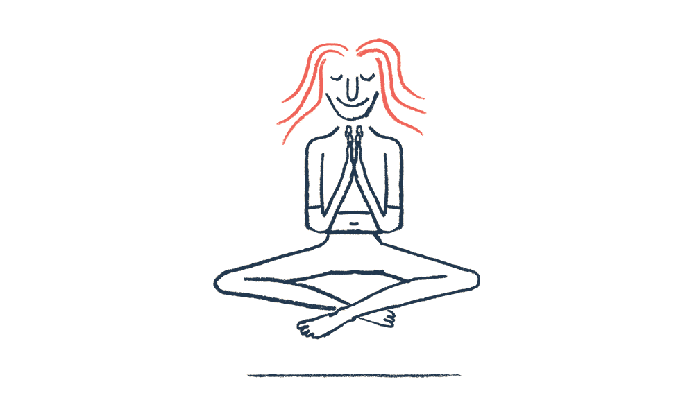 An illustration of a man doing yoga