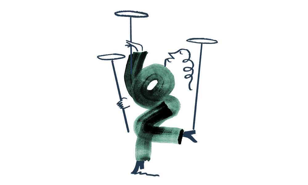 An illustration of a man spinning plates