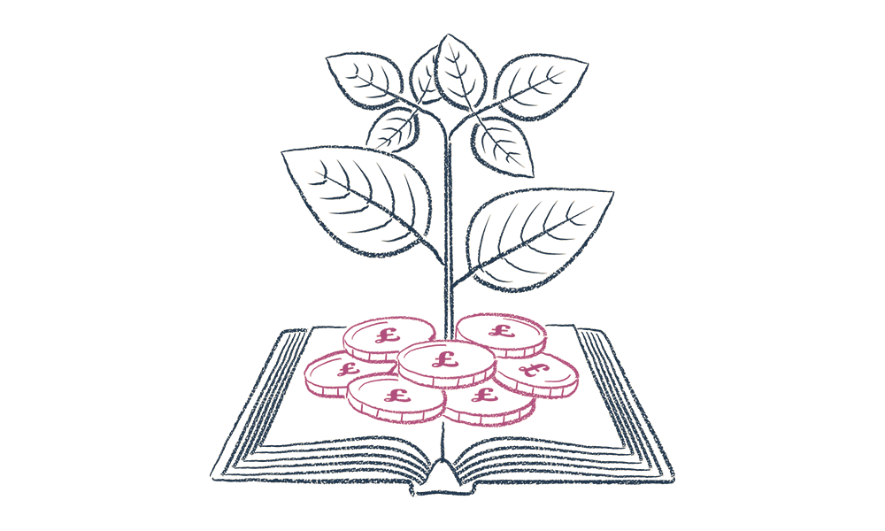 An illustration of a tree growing out of a book
