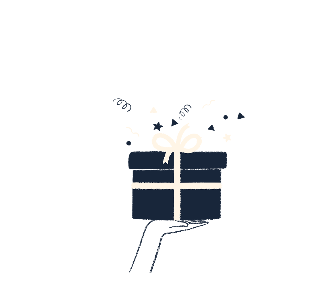 An illustration of a hand holding a gift box