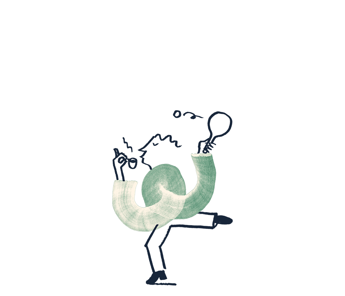 An illustration of a man playing ping pong with a cup of tea