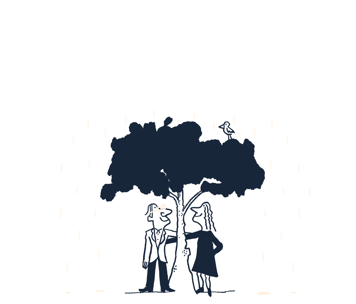 An illustration of a couple standing under a tree